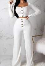 Autumn White Ribbed Crop Top and High Waist Pants 2pc Set