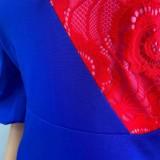 Vestido a media pierna con cuello en V y manga abullonada con parche de encaje azul formal de otoño