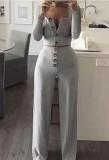 Conjunto de 2 piezas de pantalón de cintura alta y top corto acanalado verde otoñal