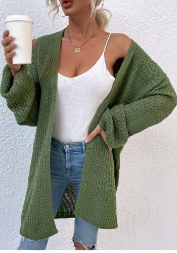 Cardigans longs à tricoter vert d'automne à manches longues