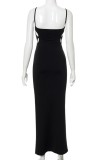 Summer Formal Black Hollow Out Strap Long Evening Dress