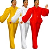 Conjunto de pantalones de cintura alta y top de peplum con manga abullonada roja formal de otoño