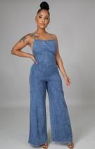 Sommer Casual Blue Straps Wide Bottom Denim Jeans Jumpsuit