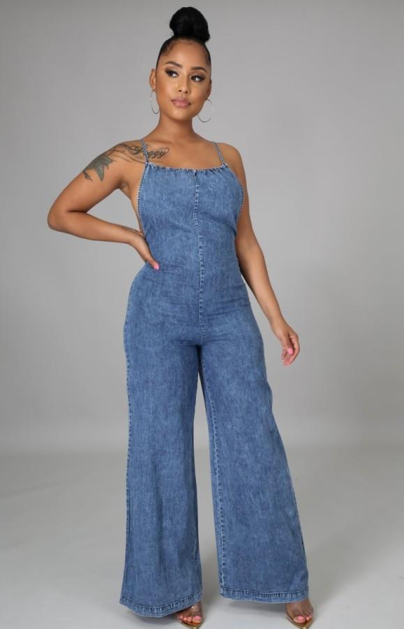 Summer Casual Blue Straps Wide Bottom Denim Jeans Jumpsuit