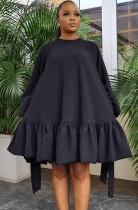 Sonbahar Günlük Siyah A-Şekilli Puf Kol Yuvarlak Yaka Kısa Elbise