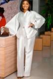 Herbst formales weißes Puffärmel-Schößchen-Top und hohe Taillenhosen-Set