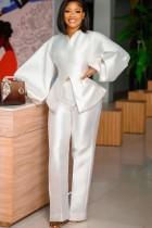 Autumn Formal White Puff Sleeve Peplum Top and High Waist Pants Set