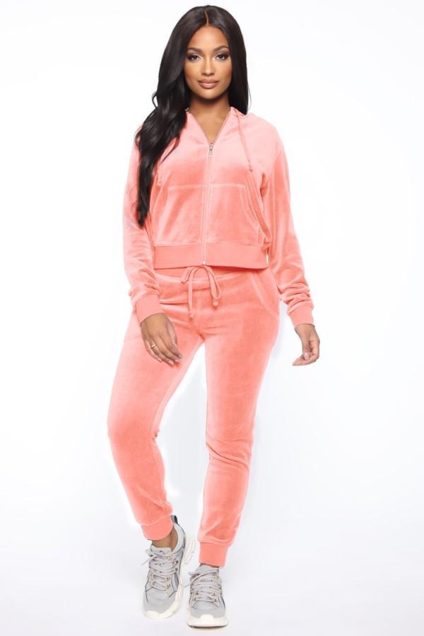 Tuta 2pc con zip in velluto rosa invernale con cappuccio