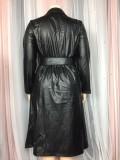 Winter Plus Size Black Leather Long Jacket Dress with Belt