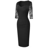 Vestido de tubo vintage con parche de encaje negro formal de otoño