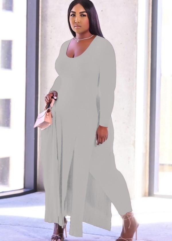 Herbst Plus Size Graues langes Hemd mit Seitenschlitz und passende Hose 2er Set