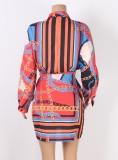 Herbst-Ketten-Print-Langarm-Blusenkleid mit Gürtel