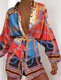 Vestido de blusa de manga larga con estampado de cadenas de otoño con cinturón