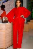 Herbst formales rotes Puffärmel-Schößchen-Top und hohe Taillenhosen-Set