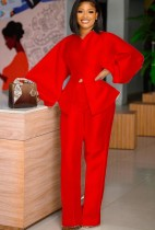 Autumn Formal Red Puff Sleeve Peplum Top and High Waist Pants Set