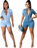 Pagliaccetti in jeans denim a maniche corte con bottoni blu casual estivi