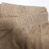 Herbst Plus Size Khaki Enges Sexy Crop Top und geknotete Hose 2er Set
