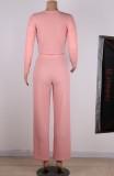 Conjunto de 2 piezas de pantalón de cintura alta y top corto acanalado rosa otoñal