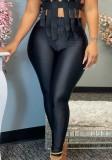 Herbstliche schwarze Basic-Leggings mit hoher Taille