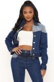 Herbstliche kontrastfarbene, kurze Jeansjacke mit Knöpfen