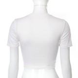 Top corto de cadenas sexy blanco con estampado de verano