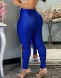 Leggings básicos de cintura alta azul otoño