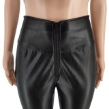Leggings rasgados de cintura alta de cuero negro de otoño
