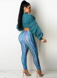 Conjunto de 2 piezas de pantalón y top corto de manga abullonada a rayas de colores de otoño