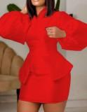 Conjunto de 2 piezas con minifalda y top con peplum de manga abullonada roja formal de otoño