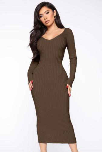 Winter Brown Knitting V-Neck Long Bodycon Dress