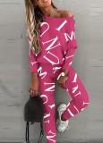 Conjunto de 2 piezas de camisa y pantalón casual con estampado de letras otoñales