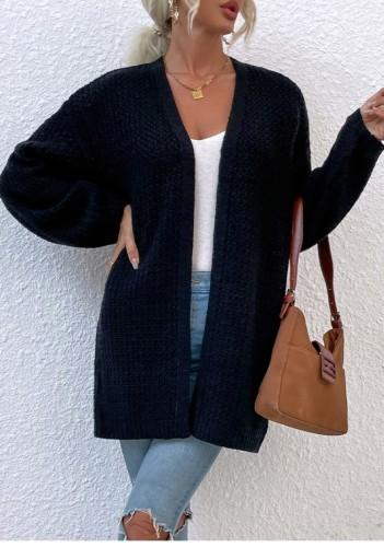 Cardigans longs en tricot noir d'automne à manches longues