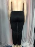 Winter Plus Size Print Black High Waist Sweatpants