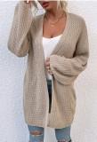 Herbst Khaki Lange Strickjacken mit langen Ärmeln