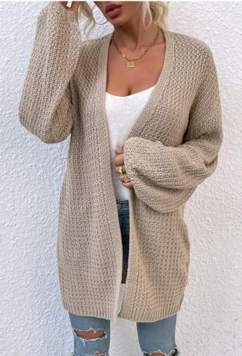 Cardigans longs à tricoter kaki d'automne à manches longues