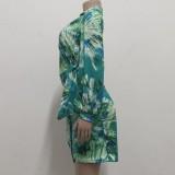 Herbst-Print Deep-V Sexy Wickelblusenkleid mit Knoten