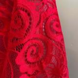 Herbst formales rotes Spitzen-Patch V-Ausschnitt Puffärmel Midikleid