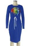 Herbst-Lippendruck-Kordelzug Blaues Hemdkleid mit O-Ausschnitt