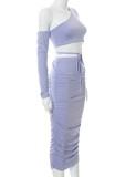 Conjunto de 2 piezas de falda de tubo con hombros descubiertos y falda de tubo con pliegues en color morado otoñal