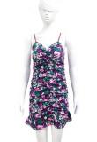 Slanke mini-jurk met zomerbloemenprint en ruches