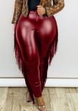 Pantalones de cuero ajustados con borlas de burgunry de talla grande de invierno