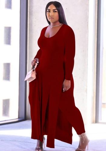 秋のプラスサイズの赤いサイドスリットロングシャツとお揃いのパンツ2点セット
