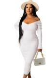 Winter White Knitting V-Neck Long Bodycon Dress