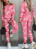 Conjunto de 2 piezas de camisa y pantalones casuales rosas con estampado de letras otoñales