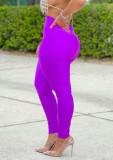 Herbstlila Basic Leggings mit hoher Taille