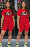 Summer Casual Sports Red Cartoon Printed T-Shirt And Matching Shorts Two Piece Set