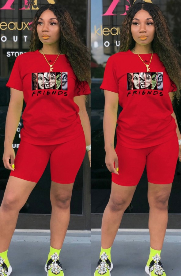 Camiseta estampada de dibujos animados rojos deportivos casuales de verano y pantalones cortos a juego Conjunto de dos piezas