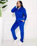 Fall Causal sudaderas con capucha de manga larga y pantalón de chándal azul