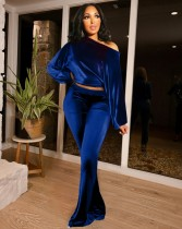 Set top corto e pantalone a maniche lunghe blu causale autunnale