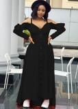 Vestido maxi de manga larga con hombros descubiertos y volantes negros sexy de otoño
